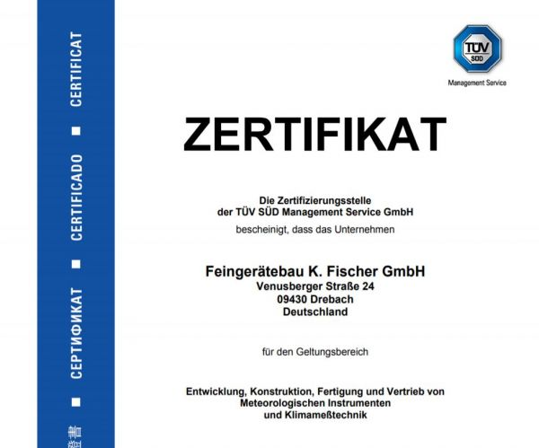 Zertifikat ISO 9001:2015 und ISO 14001:2015
