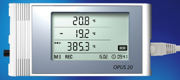 LAN-Data logger OPUS20 E for external sensors, incl. temperatur-humidity sensor